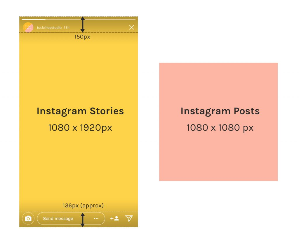 Instagram stories template size and post size