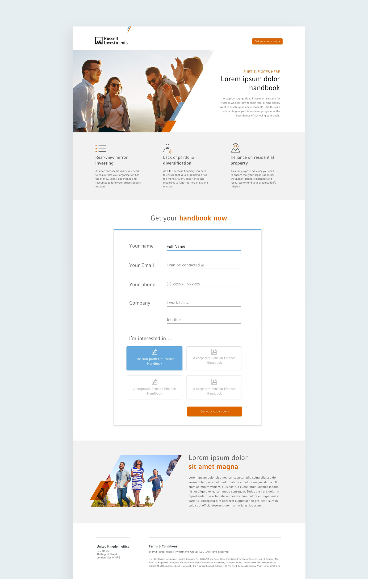 Russel Investments landing page design