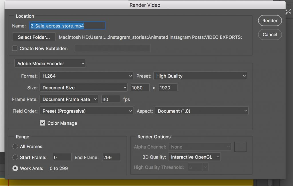 Video export settings for instagram in Photoshop